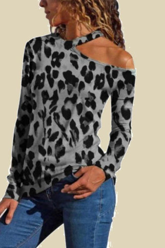 Fashion Off Shoulder Leopard Printed Long Sleeve Shirt