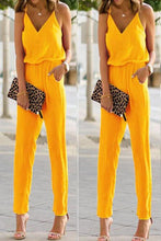 Load image into Gallery viewer, Fashion Pure Color Strap Sleeveless Jumpsuit