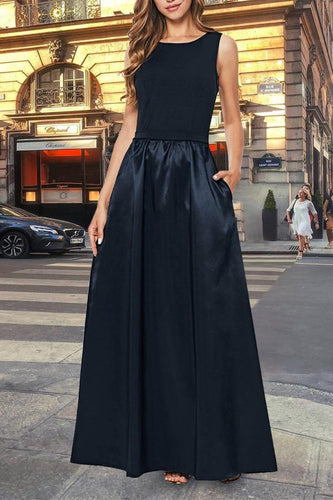 Elegant Sleeveless Backless Split Joint Plain Evening Dress