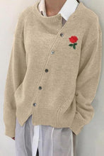 Load image into Gallery viewer, Fashion Rose In Wrought Irregular Slanting Buckle Cardigan