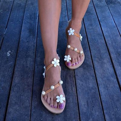 Flat Bottomed Flower And Pearl Adornment Toed Casual Sandals