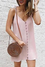 Load image into Gallery viewer, Sexy Deep -V Collar Plain Slin Button Embellished Vacation Dress