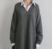 Load image into Gallery viewer, Fashion Simple Loose Long Sleeves Knitted Sweater Shown Thin Maxi Dress