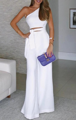 Fashion White One-Shoulder Jumpsuit