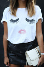 Load image into Gallery viewer, Round Neck Lips Printed Short Sleeve T-Shirts