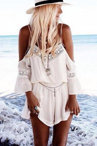 White Chiffon Spaghetti Strap Plain Short Playsuits