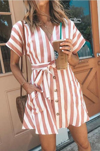 Fashion Stripe Short Sleeve Casual Dresses