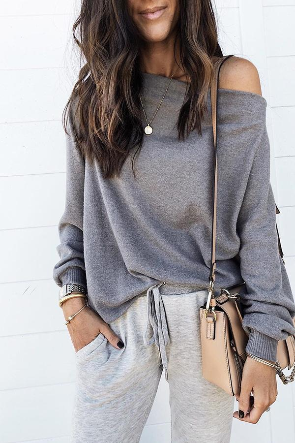 Fashion Off-The-Shoulder Solid Color Sweater