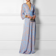 Load image into Gallery viewer, Sexy  V Neck Long Sleeves Maxi Dress