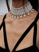 Load image into Gallery viewer, Wide Rhinestone Water-Drop Choker Necklace