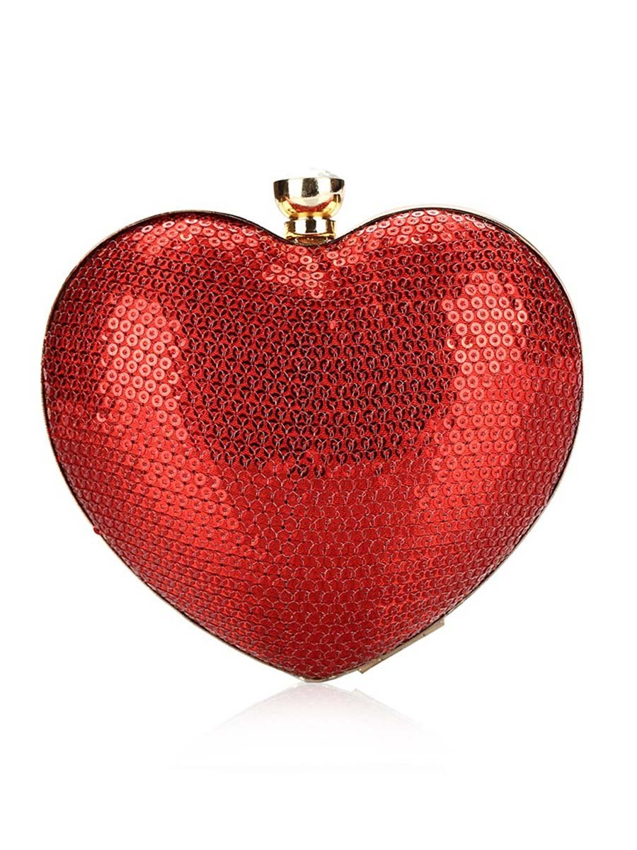 Glitter Heart Shape Evening Clutch Bag