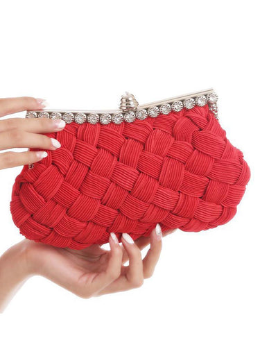 Weave Plain Classic Evening Clutch Bag