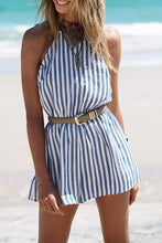 Load image into Gallery viewer, Halter  Backless  Vertical Striped  Sleeveless Playsuits