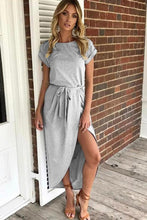 Load image into Gallery viewer, Asymmetric Hem  Plain  Short Sleeve Maxi Dresses