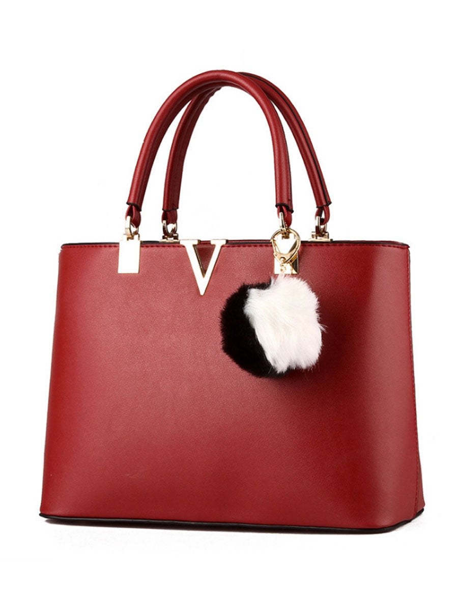 Fur Ball  V Shape Decorative Shoulder Bag