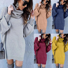 Load image into Gallery viewer, Casual Loose long high   collar knitting sweater Mini dress