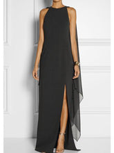 Load image into Gallery viewer, Long-Sleeved Cape Open Sleeve High Slit Plain Chiffon Maxi Dress