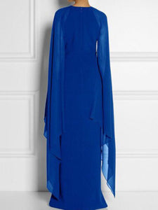 Long-Sleeved Cape Open Sleeve High Slit Plain Chiffon Maxi Dress
