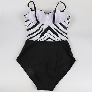 Black-White Splicing Bikini Swimsuit