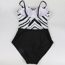 Load image into Gallery viewer, Black-White Splicing Bikini Swimsuit