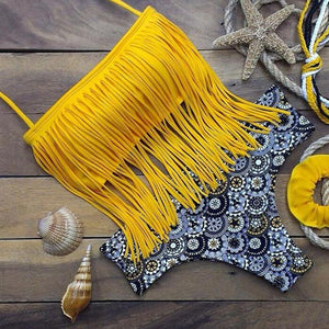 Fashion Yellow Tassel Sexy Bikini Swimsuit