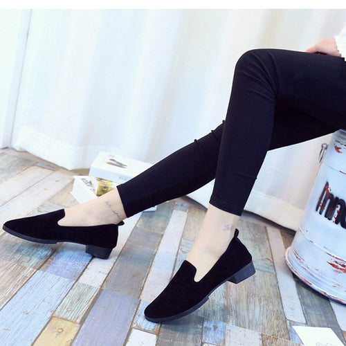 Solid Color Shallow Mouth Sharp Head Low & Rough Heel Fashion Flat Shoes