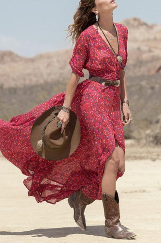 Floral Printed Sexy V Collar Split Long Vacation Dress