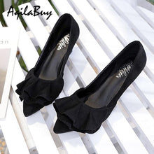 Load image into Gallery viewer, Ladies Pointed Toe Ruffle Decoration Shoes