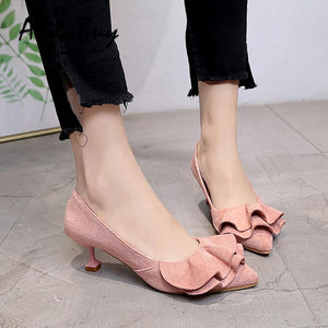Ladies Pointed Toe Ruffle Decoration Shoes