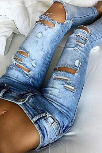 Fashion Hole Elastic Denim Jeans Pants