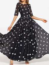 Load image into Gallery viewer, Round Neck  Ruffled Hem  Printed Maxi Dress
