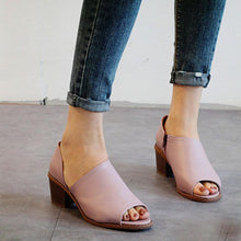 Load image into Gallery viewer, Chunky  Mid Heeled  Peep Toe  Casual Sandals