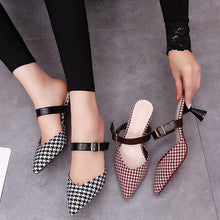 Load image into Gallery viewer, Elegant Houndstooth Pointed Toe Muller Shoes