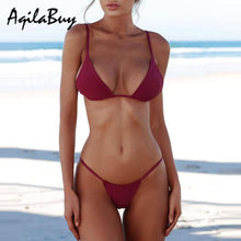 Load image into Gallery viewer, Sexy Straps Pure Color Bikini Set Swimwear