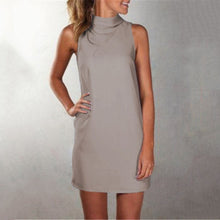 Load image into Gallery viewer, Casual Pure Color Sleeveless Mini Dress