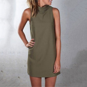Casual Pure Color Sleeveless Mini Dress