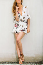 Load image into Gallery viewer, White Floral Print Deep V Pleated Romper
