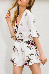 White Floral Print Deep V Pleated Romper