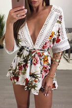 Load image into Gallery viewer, Splicing Lace Trim Double V Floral Romper