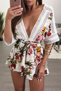 Splicing Lace Trim Double V Floral Romper