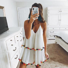 Load image into Gallery viewer, Fashion Style V Collar Holiday Tassel Mini Dress