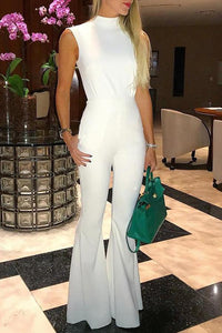 White Fashion Open Back Flared Tied Jumpsuit
