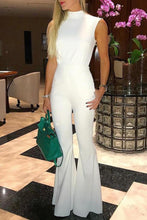 Load image into Gallery viewer, White Fashion Open Back Flared Tied Jumpsuit