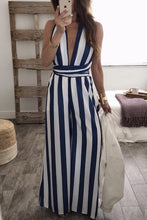 Load image into Gallery viewer, Sexy Fashion Halter Backless Striped Jumpsuit