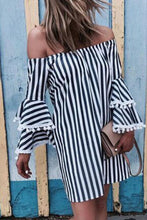 Load image into Gallery viewer, Off Shoulder  Striped  Bell Sleeve  Long Sleeve Casual Dresses