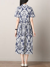 Load image into Gallery viewer, Band Collar  Printed Maxi Dress