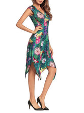 Load image into Gallery viewer, Fashion Floral Printed Tails Irregular Evening Dress
