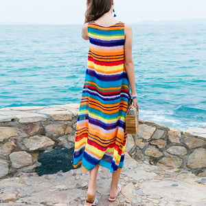 Bohemian Colorful Striped Sleeveless Maxi Beach Vacation Dress