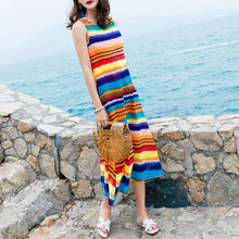 Load image into Gallery viewer, Bohemian Colorful Striped Sleeveless Maxi Beach Vacation Dress