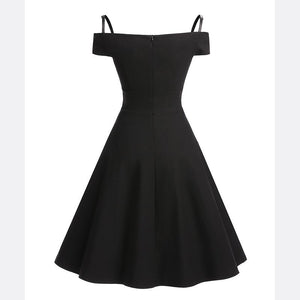 Sexy Off Shoulder Sling Slimming Skater Dress